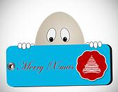 egg shaped character with merry christmas tag
