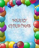 balloon frame, merry christmas at center
