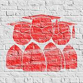 Red Group of Graduates Icon on White Brick Wall.