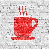 Red Cup of Coffee Icon on White Brick Wall.