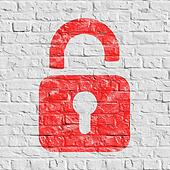Red Icon of Opened Padlock on White Brick Wall.