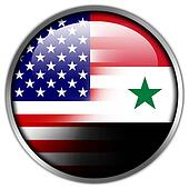 USA and Syria Flag glossy button