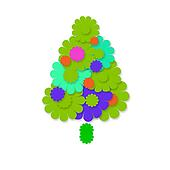 cheerful christmas tree greeting card