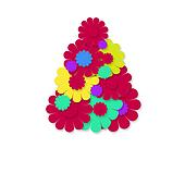 christmas cheerful hippie tree greeting card