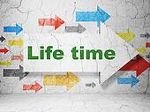 Time concept: arrow whis Life Time on grunge wall background