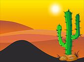 Cactus plants in desert - Stock Illustration