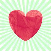 Vintage heart on striped background