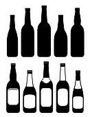set of isolated beer bottles