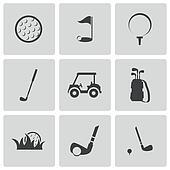 Vector black golf icons set