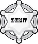 vector silver sheriff star badge on white