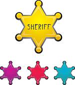 vector color sheriff star isolated on white