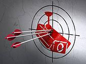 Protection concept: arrows in Cctv Camera target on wall