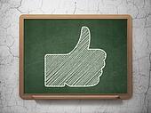 Social media concept: Like on chalkboard background