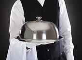 Male Waiter Holding Tray And Lid
