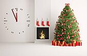 Christmas fir tree in the room with big clock