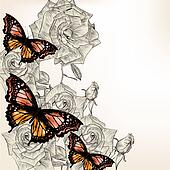 Floral design with hand drawn roses and butterflies
