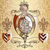 Heraldic design with lion and knight