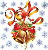 Vector Christmas and New Year 2014 decoration set