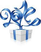 Vector blue ribbon in the shape of 2014 and gift box.