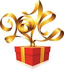 Vector rgolden ribbon in the shape of 2014 and gift box.