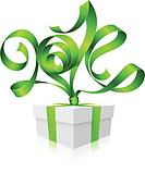 Vector green ribbon in the shape of 2014 and gift box.