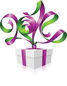 Vector purple ribbon in the shape of 2014 and gift box.