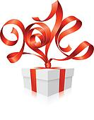 Vector red ribbon in the shape of 2014 and gift box.