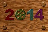 2014 Wooden Gear on Wood Grain Texture Background