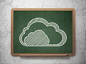 Cloud networking concept: Cloud on chalkboard background