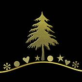 Elegant Christmas card in gold and black