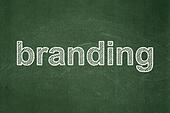 Marketing concept: Branding on chalkboard background