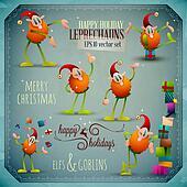 Christmas Leprechauns, Elf Goblin Vector Set