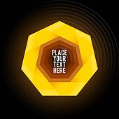Yellow heptagon shape on dark background