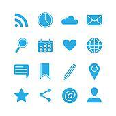 Silhouette social media icons set