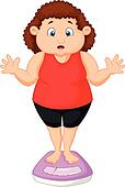 Fat woman cartoon very worried with