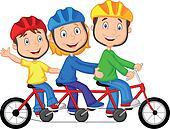 Happy family cartoon riding triple