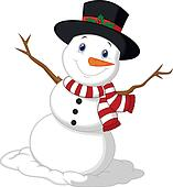 Christmas Snowman cartoon wearing a