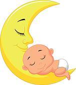 Cute baby cartoon sleeping on the m