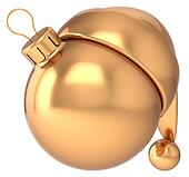 Christmas ball gold New Year bauble
