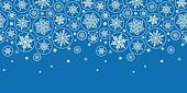 vector falling snowflakes horizontal border seamless pattern background with drawn snowflakes on light blue background.
