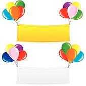 Balloon Banner. Festive Decoration Birthday Design