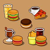 Set of colorful cartoon fast food and cake.