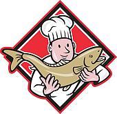 Chef Cook Handling Salmon Trout Fish Cartoon