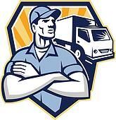 Removal Man Moving Delivery Van Crest Retro