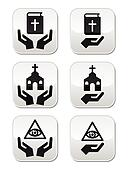 Religion buttons - hands with bible