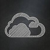 Cloud computing concept: Cloud on chalkboard background