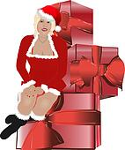 Santa claus christmas women sit on