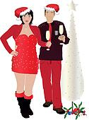 Christmas couple diner