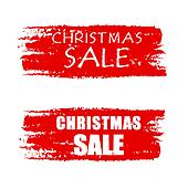 christmas sale on red drawn banners