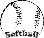 Grunge-style Softball Design